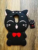 Объемный 3d силиконовый чехол для Huawei Honor 6a Кошечка черная