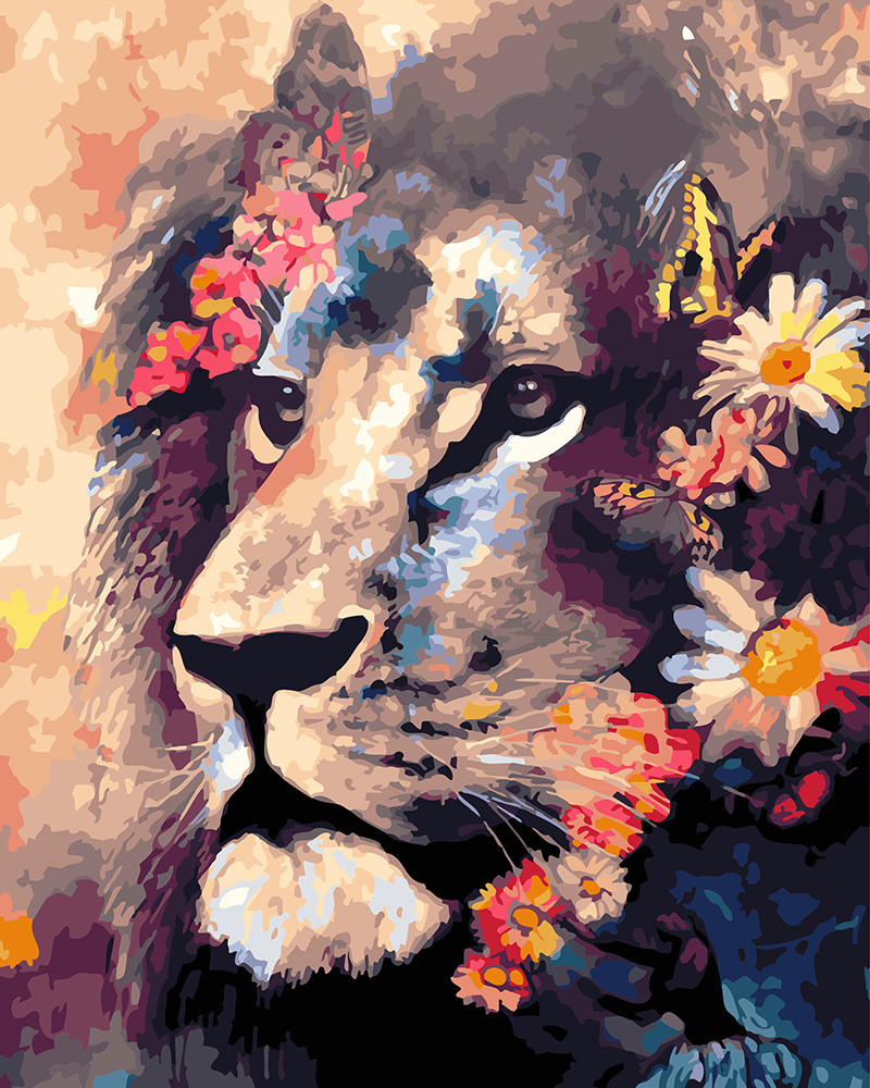 Картина по номерам Лев в цветах, 40x50 см., Rainbow art