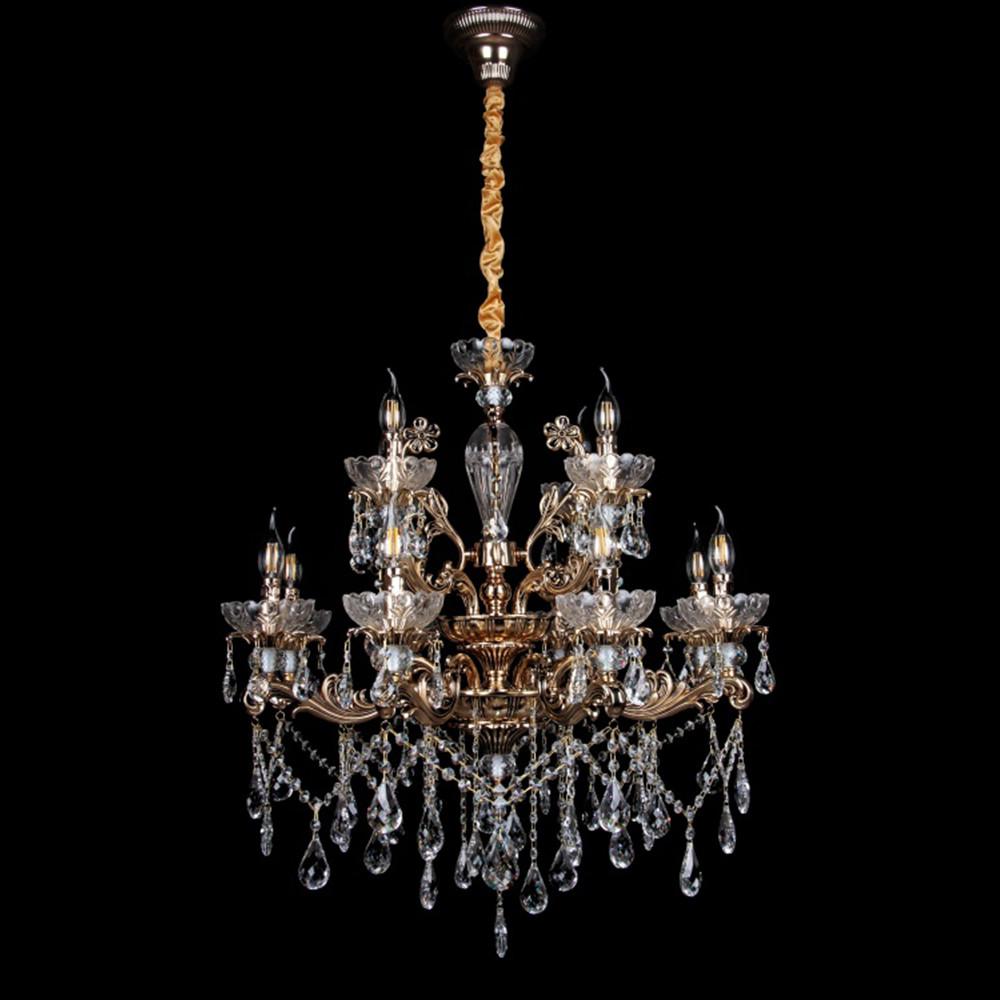 Классическая люстра-свеча на 12 лампочек СветМира VL-7114/8+4 (золотая)