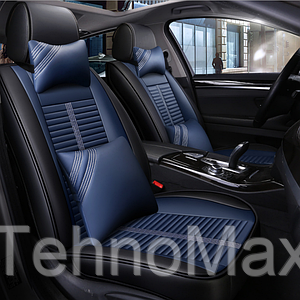 Модельные чехлы 5D на передние и задние сиденья автомобиля + подушки Синий с черным.
