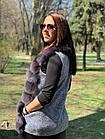Жилетка 75 см Кашемир С Мехом Песца Фиолет 048КЛ, фото 3