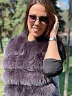 Жилетка 75 см Кашемир С Мехом Песца Фиолет 048КЛ, фото 4