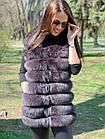 Жилетка 75 см Кашемир С Мехом Песца Фиолет 048КЛ, фото 6
