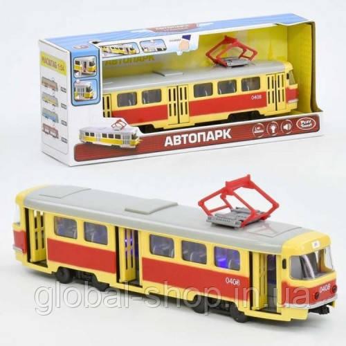 Детский игрушечный трамвай модель 9708-A , детская игрушка трамвай,точная копия ,световые и звуковые эффекты