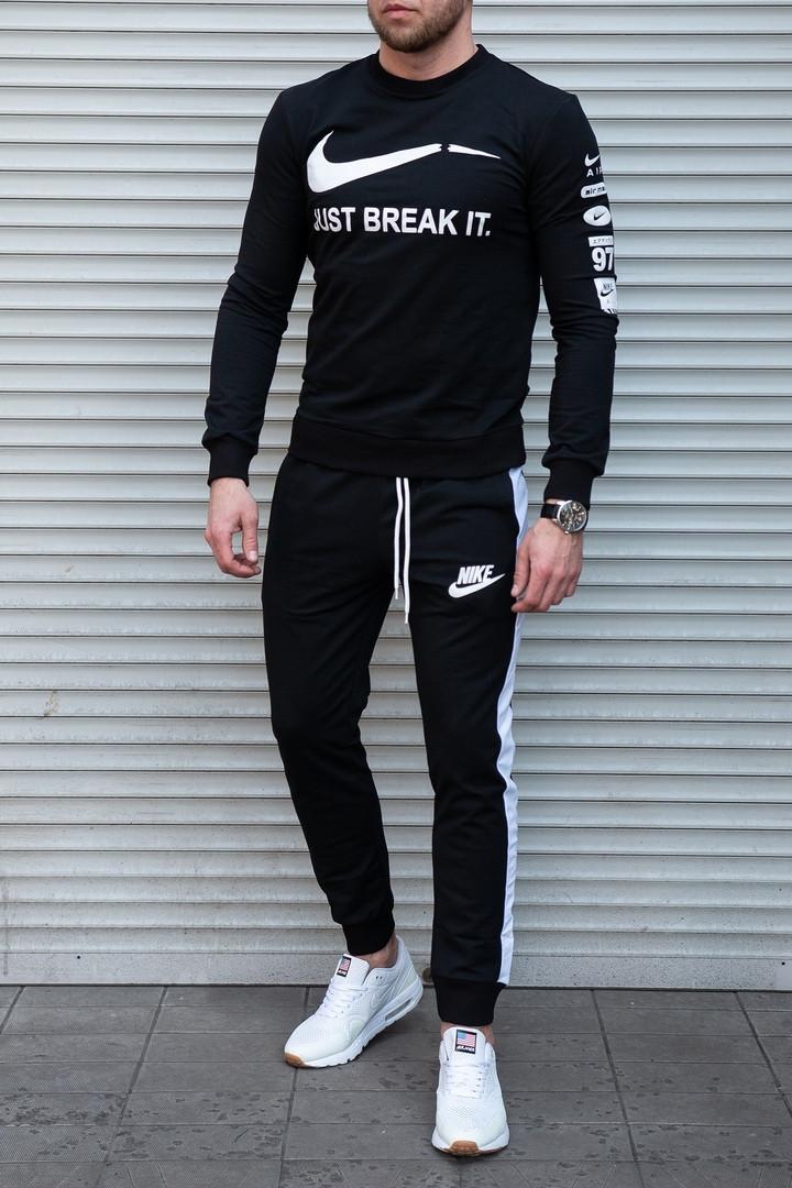 425e76ed Качественный мужской спортивный костюм Nike , черные с белым - Интернет  магазин