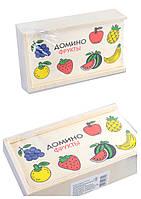 Деревян. домино животные-фрукты, 5 видов,в пленке 15,5*4*9см /120/(CLR311)