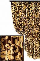 "Портьерная ткань блекаут ""Винтажный завиток"", цвет крем-брюле-шоколад (двусторонняя)"