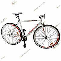 Велосипед Profi  28 FIX26C700-UKR2 Fixed Gear Bike, Фикс и Сингл спид (Бело-красный), фото 1