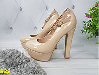 Туфли с застежкой на толстом каблуке бежевые, фото 1