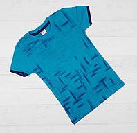"""Детская футболка  на мальчика """" Cl 58 ss """" ( выпуклый рисунок) 8,9,10,11,12 лет. морская волн"""