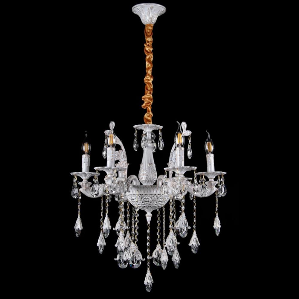 Классическая люстра-свеча на 6 лампочек СветМира VL-29145/6 (белая с золотой патиной)