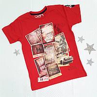 """Футболка детская на мальчика """"Марки"""" , р.9-12 лет, красный, фото 1"""