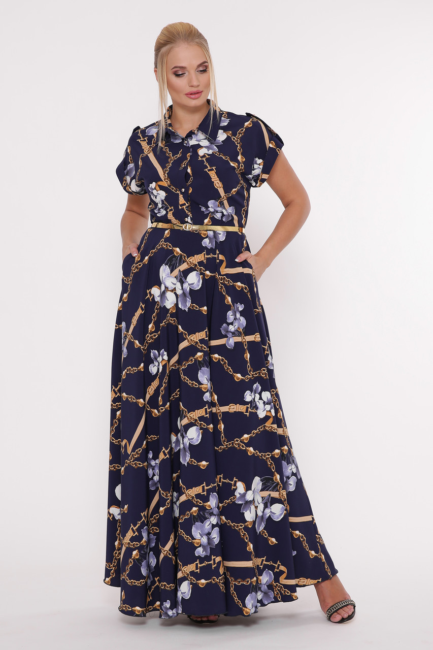 cfe2cc60c7a Синее платье в пол больших размеров Алена цепи - V Mode