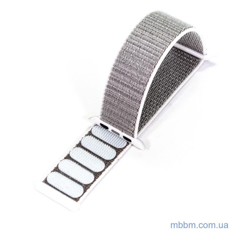 Ремешок Apple Watch 42 44mm Nylon Sport Loop silver