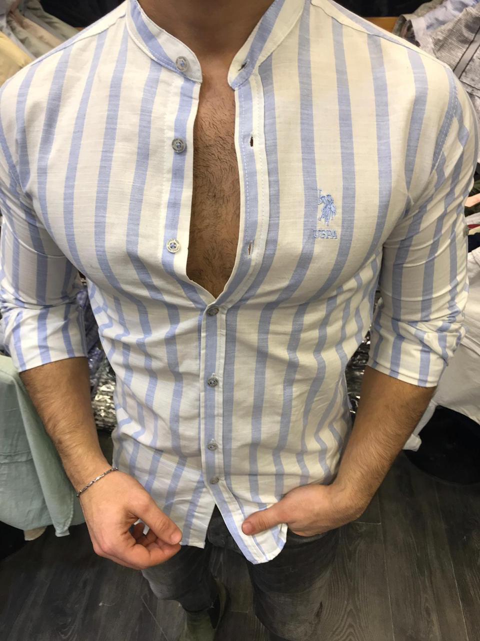 f5175631b3a Мужская Рубашка Хлопковая Белая в Синюю Полоску с Воротником Стойка ...