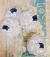 Резинка для волос Бант №10, ЦЕНА ЗА УП., В УП. 12ШТ, белый с синей лентой, в пак. (337015)