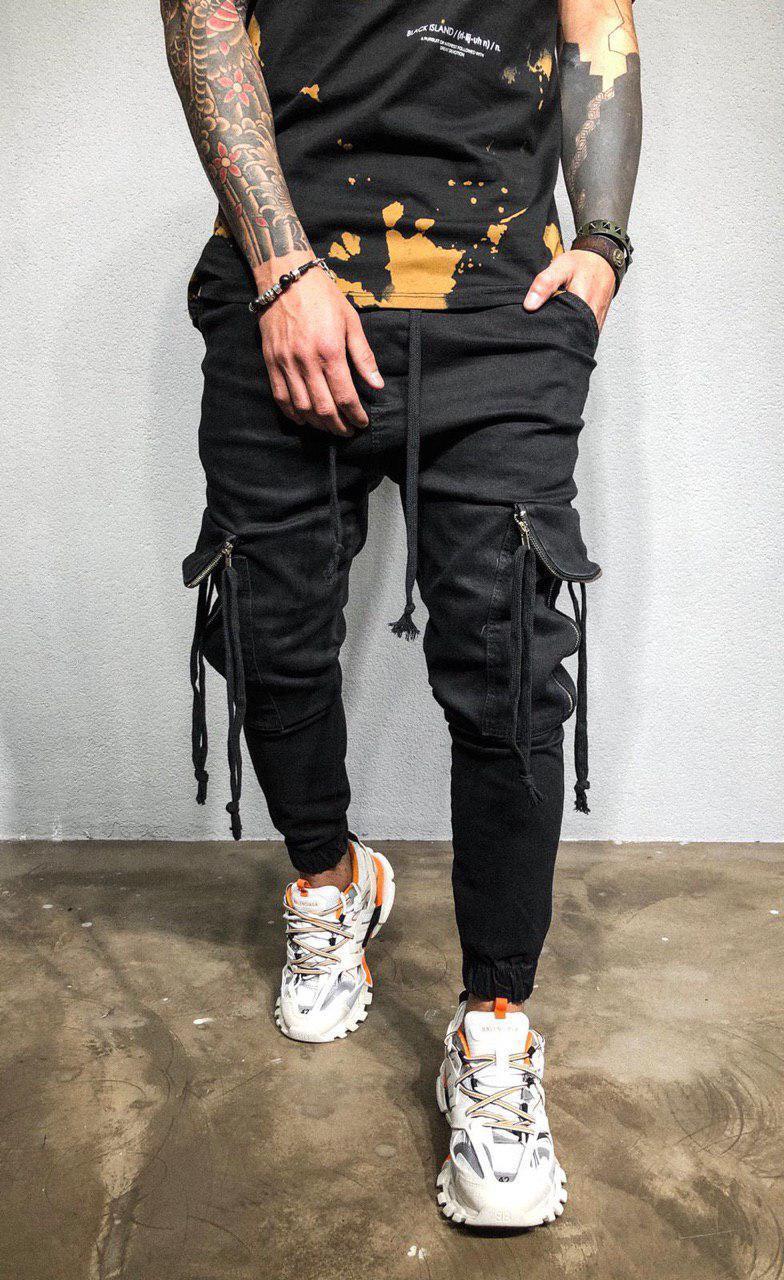 8d34f3a6c60 Мужские джинсы черные на манжетах с молниями и шнурками - Интернет-магазин  обуви и одежды