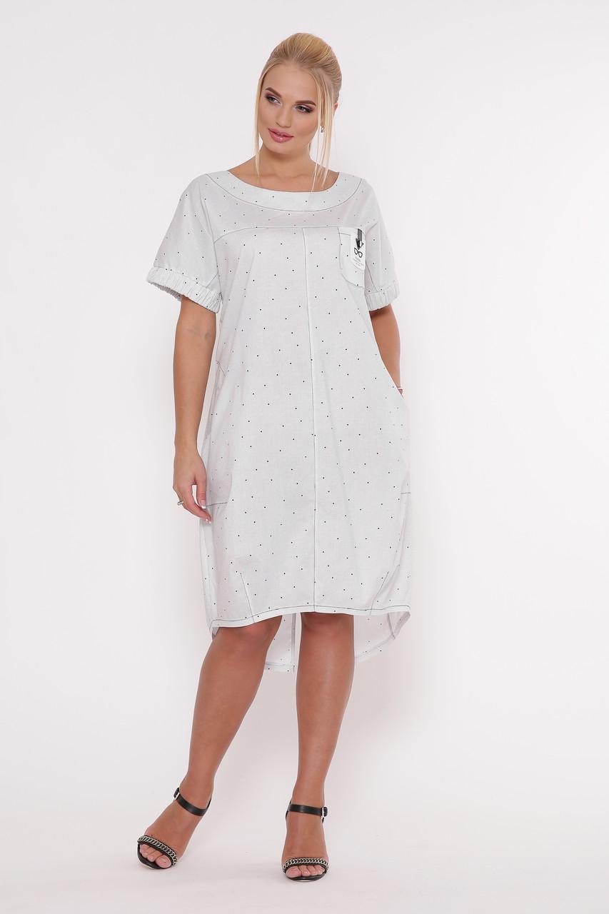 Літнє плаття для повних в стилі бохо Бріджит біле