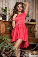 Женское платье с двойной юбкой нижняя по фигуре короткий рукав французский трикотаж , фото 1