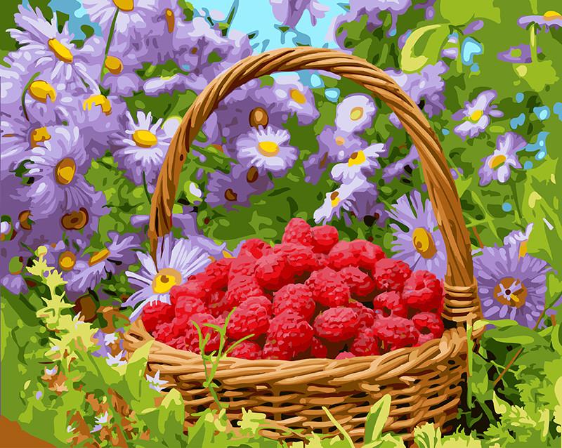 Картина по номерам Лукошко малины, 40x50 см., Rainbow art