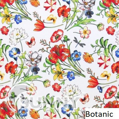Рулонные шторы для окон в закрытой системе Sunny с плоскими направляющими - ПЛАСТИК, ткань Botanic