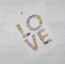 """Детская футболка для девочек """" LOVE""""  4,6,8,10,12 лет"""
