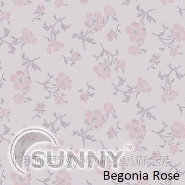 Рулонные шторы для окон в закрытой системе Sunny с плоскими направляющими - ПЛАСТИК, ткань Begonia