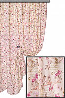 Ткань для штор, скатертей и оббивки мебели в стиле прованс, 70 % хлопок, цвет розовый цветок