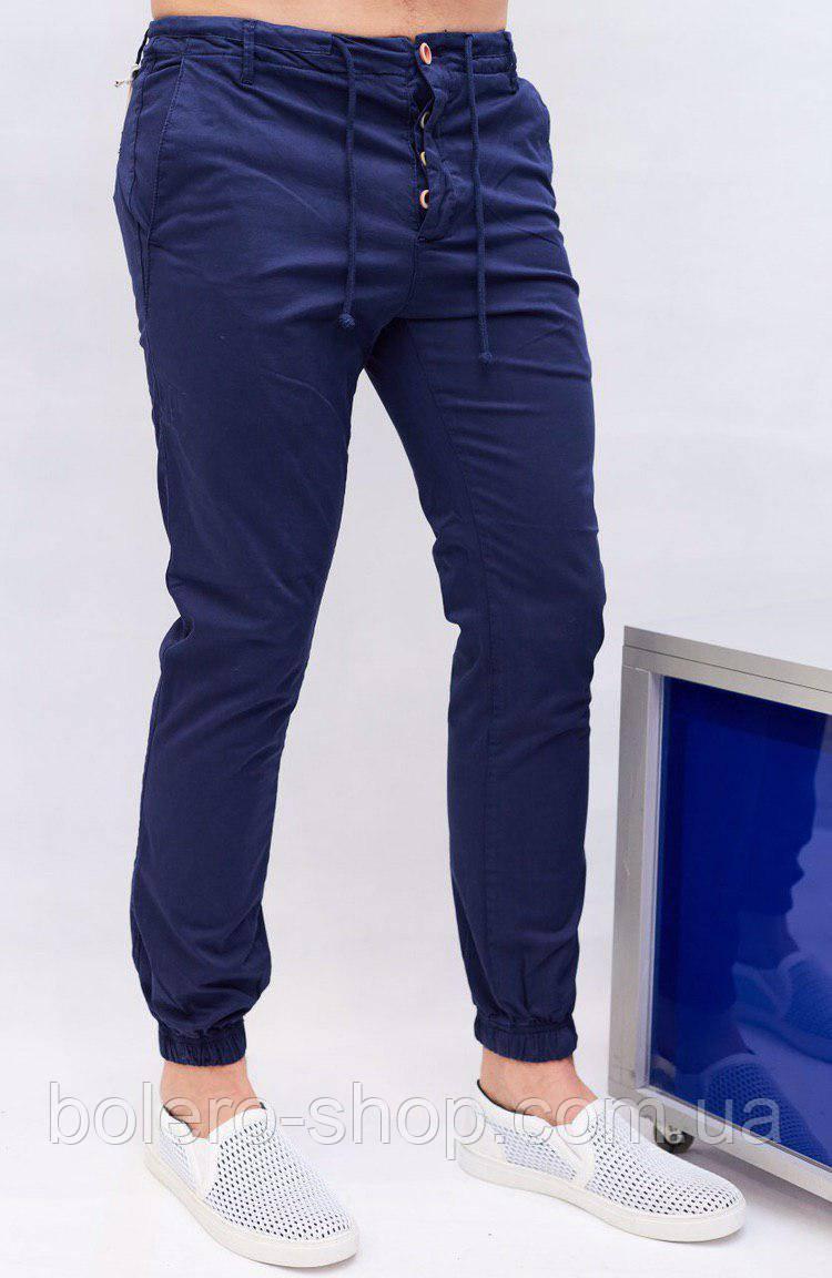 Слаксы мужские на манжет резинка  Rich famous синие