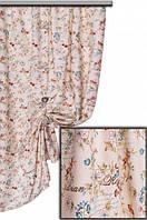 Ткань для штор, скатертей и оббивки мебели в стиле прованс, 70 % хлопок, оранжевый и голубой цветок цветок