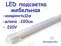 Светодиодная планка (линейка) СП100-М 220В 12Вт 1 метр в пластиковом корпусе (матовый)