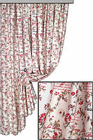 Ткань для штор, скатертей и оббивки мебели в стиле прованс, 70 % хлопок, цвет красный цветок