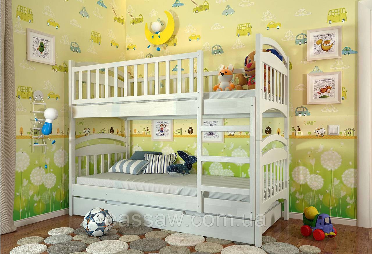 """Кровать двухъярусная деревянная """"Смайл"""" 0,8*1,9 сосна"""