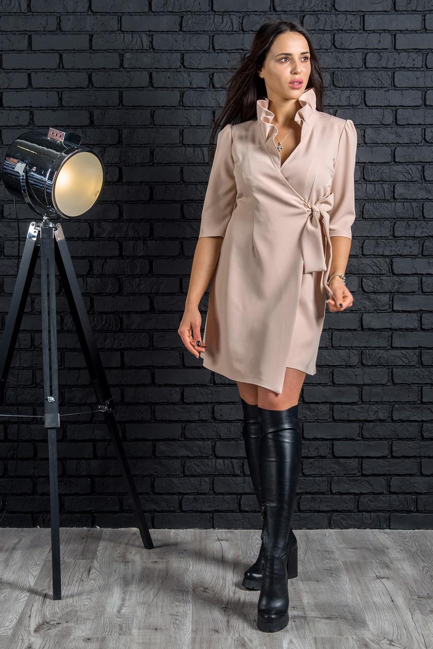 Стильное платье на запахс рюшами с 42по 52 размер
