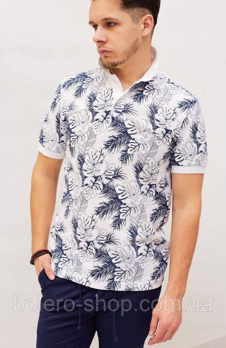 Мужская футболка поло Dolce&Gabbana бело-синяя с растительным орнаментом