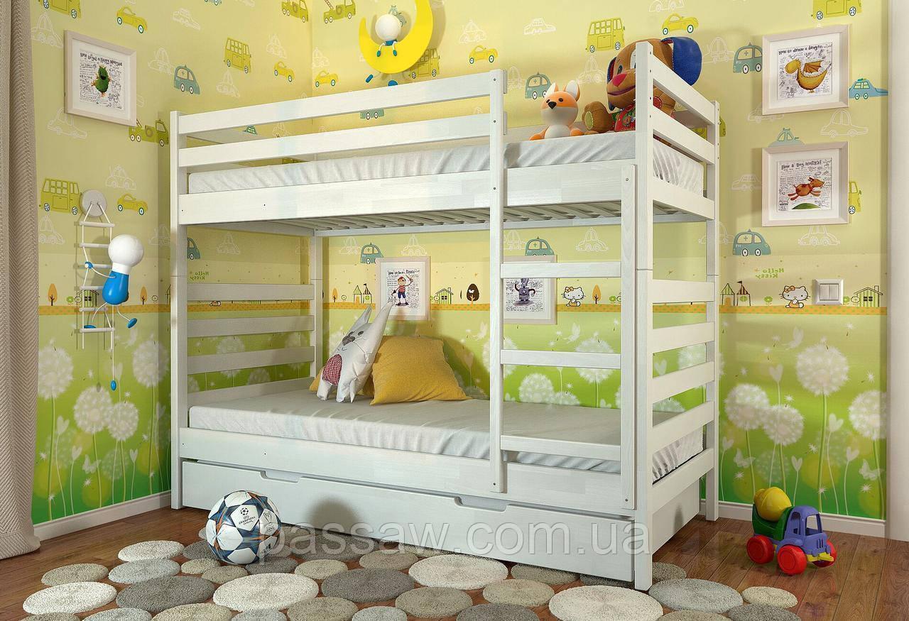 """Кровать двухъярусная деревянная """"Рио"""" 0,9*2,0 сосна"""
