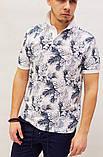 Мужская футболка поло Dolce&Gabbana бело-синяя с растительным орнаментом, фото 3