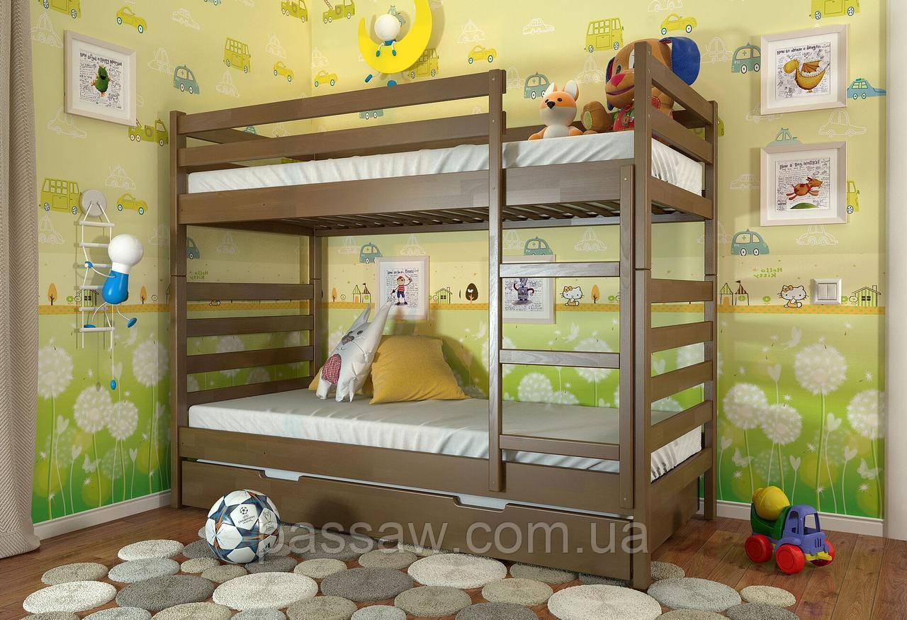"""Кровать двухъярусная деревянная """"Рио"""" 0,9*2,0 бук"""