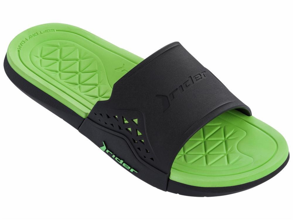 Оригинал Шлепанцы мужские 82496-21675 Rider Infinity II Slide man slipper black/green Зеленые 2019