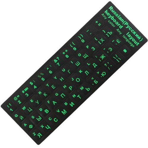 Наклейка на клавиатуру для ПК/Ноутбук/Macbook Русская раскладка Green