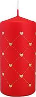 Свеча сердце 50х100мм цвет красный металлик парафиновая цилиндрическая