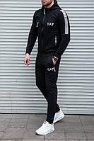Качественный мужской спортивный костюм в стиле EA7 , черные с белым лого
