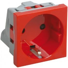 Розетка силовая 2к+з, 2 модуля (красная) РКС-20-32-П