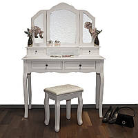 Туалетный столик Фиона белый с зеркалом