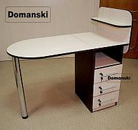 Маникюрный стол с ящиками и полкой для лаков. Замки на всех ящиках. Цвет - дуб молочный + венге.