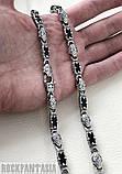 Серебряная мужская цепочка с ониксами и коронами., фото 4