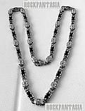 Серебряная мужская цепочка с ониксами и коронами., фото 6