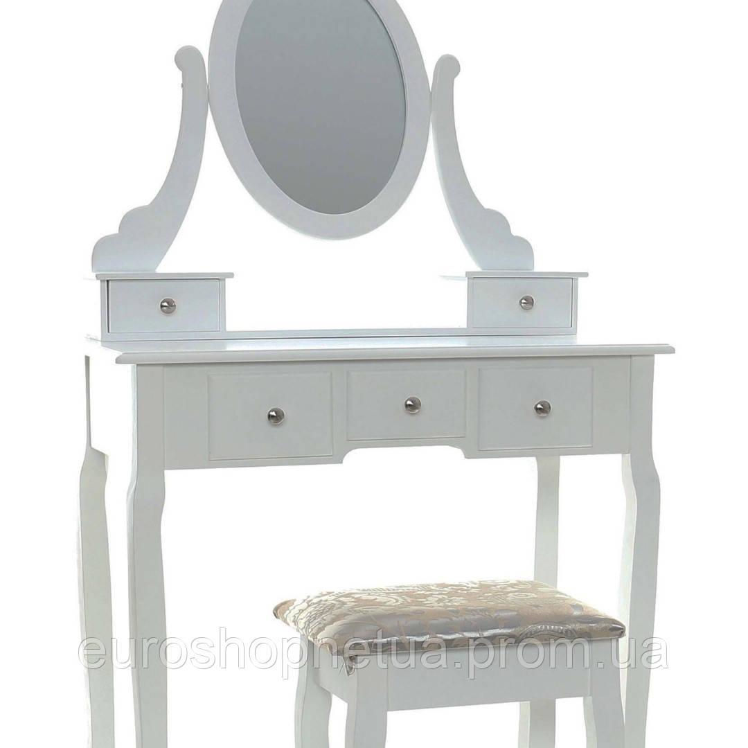 Туалетный столик Клара белый с зеркалом