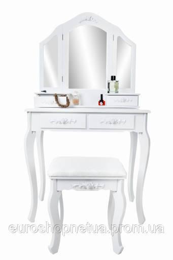 Туалетный столик Мирка2 белый с зеркалом