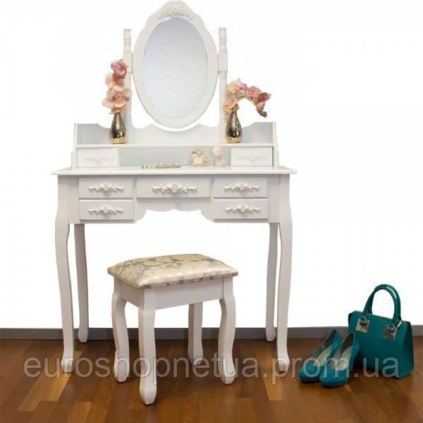Туалетный столик Элис белый с зеркалом